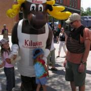 Photo of children with Kilwin the Moose mascot