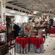 Photo of interior of Kilwins Geneva, IL store decorated for Christmas