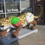 Photo of statue of jaguar with Ice Cream Cones for legs