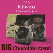 "Photo of 3 bags of mini Chocolate bars in Milk, White, and Dark Chocolate with the text, ""Every Kilwins Chocolate is a BIG Chocolate Taste!"""