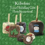 "Photo of Chocolate-dipped Caramel Apple, Chocolate-dipped Cookies, and Chocolate-dipped Krispies with Holiday icing topper decorations and the text, ""Your Holiday Gift Headquarters!"""